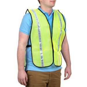"""V111W  TYPE 0 NON-RATED HI-VIS MESH SAFETY VEST w/1"""" REFLECTIVE STRIPING"""