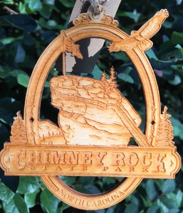 Chimney Rock State Park Wood Christmas Ornament