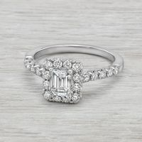 1.38ctw Emerald Cut Diamond Halo Engagement Ring by Romance