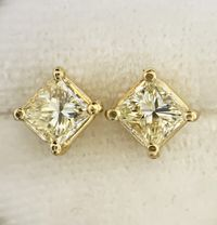 1.00ctw Princess Cut Diamond Stud Earrings