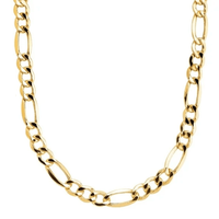 """14K Gold Figaro Necklace, 6mm, 24"""" Long"""