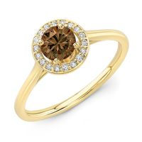 14K Yellow Gold and Cognac Diamond Halo Ring