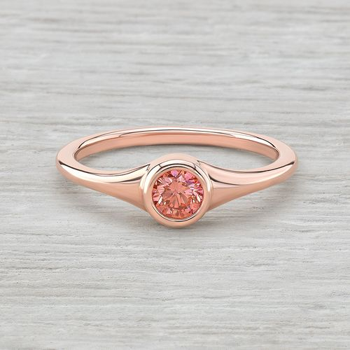 14K Rose Gold and Pink Diamond Bezel Set Ring