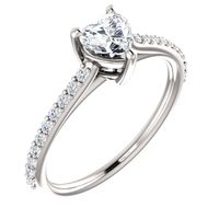 14K White Gold and Heart Shaped Diamond Engagement Ring