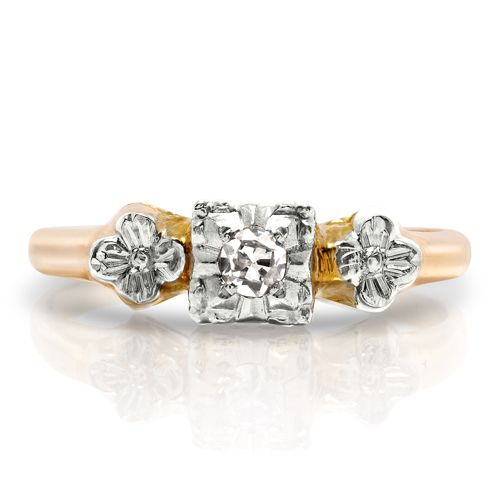 Vintage 14k Gold & Diamond Floral Promise Ring