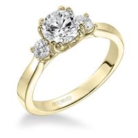 14kt Yellow Gold and Three Stone Diamond Engagement Ring by ArtCarved