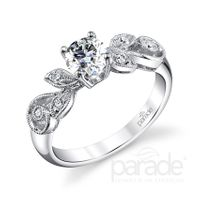 18kt White Gold and Diamond Engagement Ring by Parade, Vine Style