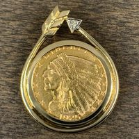 1925 $2.50 Indian Head Gold Coin Necklace
