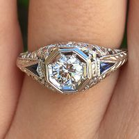 18k White Gold, Diamond & Sapphire Vintage Engagement Ring by Belais