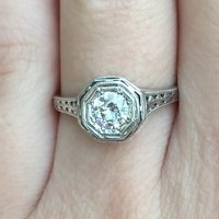 1930's GIA Old European Cut Engagement Ring