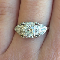 1930's Platinum Old European Cut Engagement Ring
