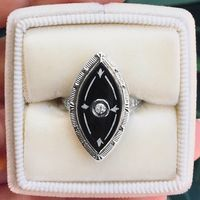 Raven - 1930's Vintage 14k White Gold, Black Onyx & Diamond Fashion Ring