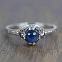 1930's 20k White Gold & Cabochon Sapphire Vintage Ring