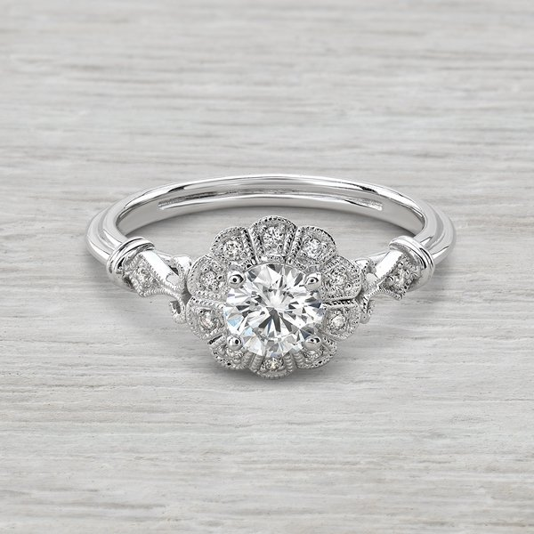 Vintage Flower Enement Rings | Dahlia Vintage Inspired Flower Design Engagement Ring You Will