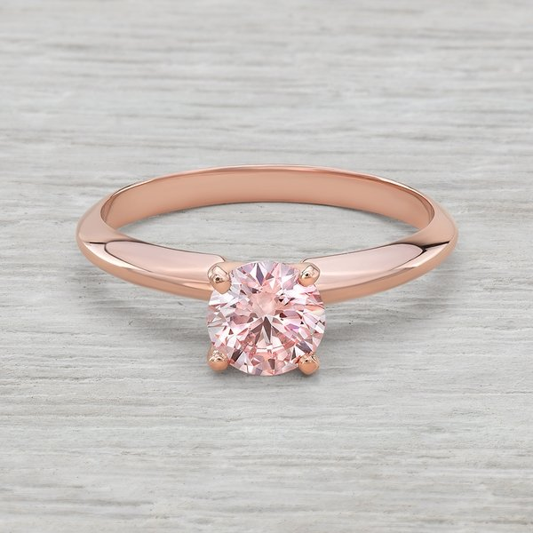Rose Solitaire 14k Diamond In Engagement Pink 34ct Goldvs2 Ring 8nmNw0