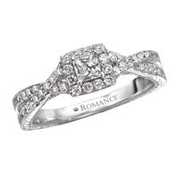 .65ctw Princess Cut Halo Diamond Engagement Ring by Romance