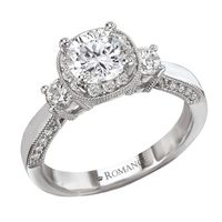 .69ctw Diamond Milgrain 14K White Gold Engagement Ring by Romance