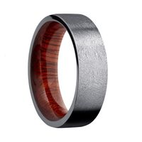 7mm Tantalum Wedding Band with Blood Wood Sleeve, Distressed Finish