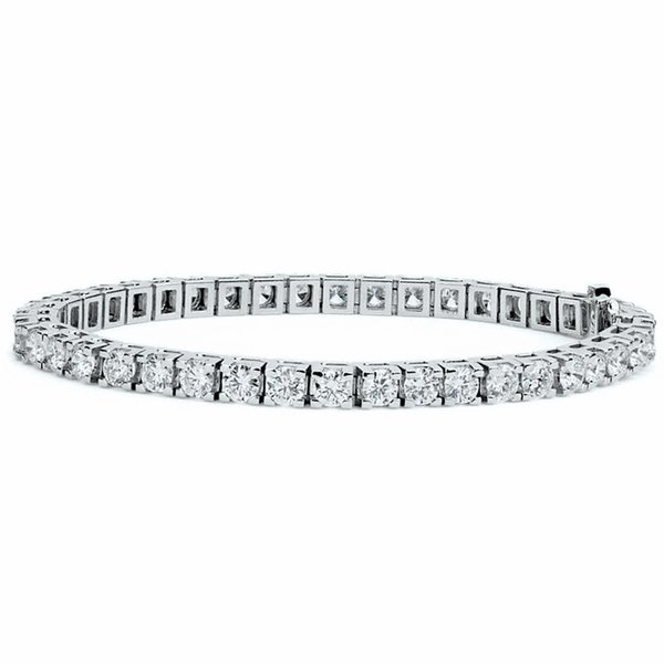 Carat Weight Varies By Size Available In 6-9 Inch Lengths AGS Certified 14 Karat White and Yellow Gold 9 Carat Diamond Tennis Bracelet