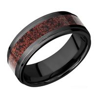 8mm Step Edged Black Zirconium & Red Dinosaur Bone Band by Lashbrook Designs