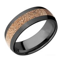 8mm Black Zirconium & Tan Dino Bone Inlay Men's Band by Lashbrook Designs