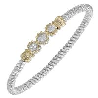 14k Yellow Gold, Sterling Silver & 3 Diamond Beaded Flower Bracelet by Alwand Vahan
