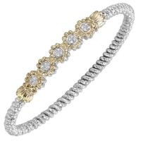 14k Yellow Gold, Sterling Silver & Diamond Beaded Flower Bangle by Alwand Vahan