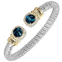 Sterling Silver & 14k Yellow Gold London Blue Topaz Bracelet by Alwand Vahan
