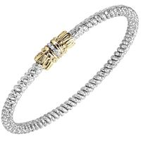 14k Yellow Gold & Sterling Silver Diamond Closed Bangle by Alwand Vahan