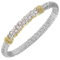 14kt Yellow Gold and Sterling Silver Diamond Bangle by Alwand Vahan