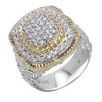 14k Yellow Gold, Sterling Silver & Diamond Ring by Alwand Vahan