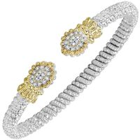 14k Yellow Gold & Sterling Silver Scalloped Diamond Bangle by Alwand Vahan