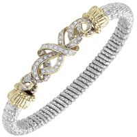 14kt Yellow Gold and Sterling Silver Diamond Weave Bangle by Alwand Vahan