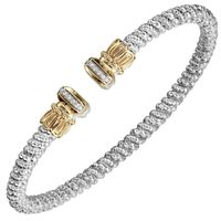 14k Yellow Gold & Sterling Silver Diamond Bar Bangle by Alwand Vahan
