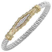 14k Yellow Gold & Sterling Silver Diamond Bracelet by Alwand Vahan