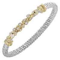14k Yellow Gold, Sterling Silver & Diamond Floral Bangle Bracelet by Alwand Vahan