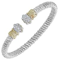 14kt Yellow Gold and Sterling Silver Diamond Bangle by Alwand Vahan, 4mm .20ctw