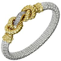 14k Yellow Gold, Sterling Silver & Diamond Rope Bracelet by Vahan