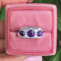 Amethyst and Diamond Filigree Ring