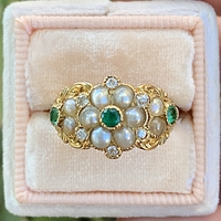 Nouvelle - Antique Emerald & Seed Pearl Ring