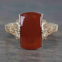 Sienna - Vintage Art Nouveau 14k Yellow Gold & Carnelian Ring