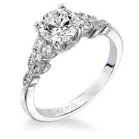 14kt White Gold and Diamond Engagement Ring by ArtCarved, Vine Motif