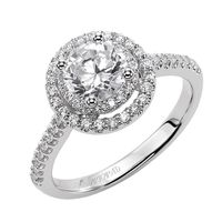 14kt White Gold and Double Diamond Engagement Ring by ArtCarved