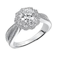 14kt White Gold Double Halo Diamond Engagement Ring by ArtCarved