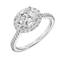 14kt White Gold and Diamond East-West Oval Halo Ring by ArtCarved