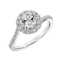 14kt White Gold and Diamond Halo Engagement Ring by ArtCarved, Swirl Shank