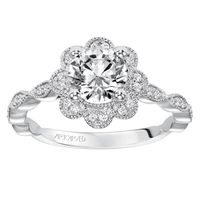 14kt White Gold Diamond Floral Engagement Ring by ArtCarved