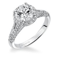 14kt White Gold and Diamond Split Shank Engagement Ring by ArtCarved