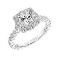 14k White Gold and Square Scalloped Halo Engagement Ring by ArtCarved