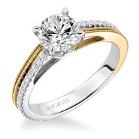 14kt White, Yellow and Diamond Engagement Ring by ArtCarved